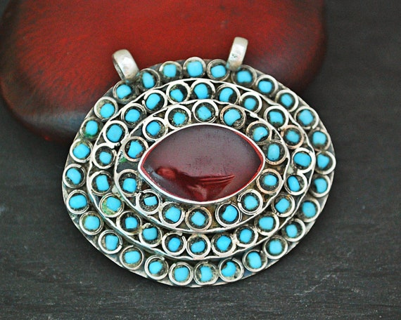 Turkmen Pendant with Carnelian and Turquoises - Tu