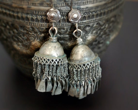 Old Silver Kashmiri Jhumka Earrings - Tribal Silve