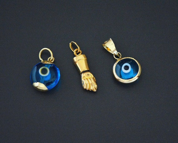 Turkish Evil Eye 14K Gold Pendant and 18K XS Figa