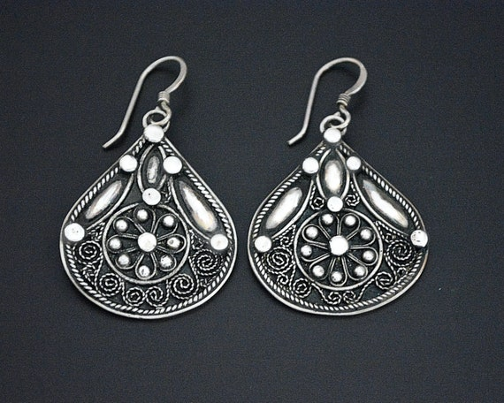 Vintage Indian Silver Earrings - Rajasthani Silver