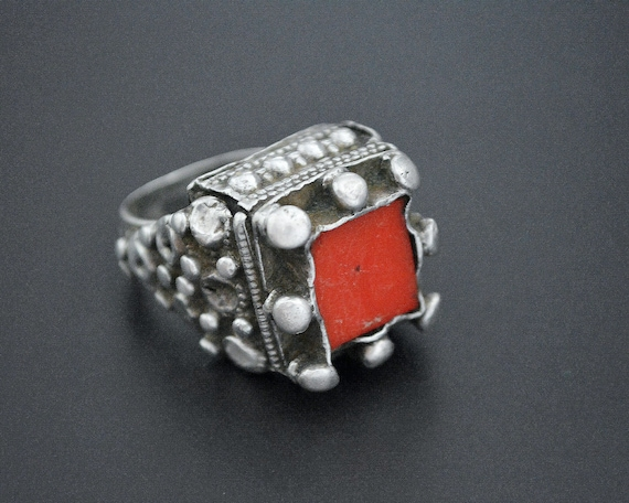 Pashtun Silver Ring with Red Glass - Size 7.5 - Pa