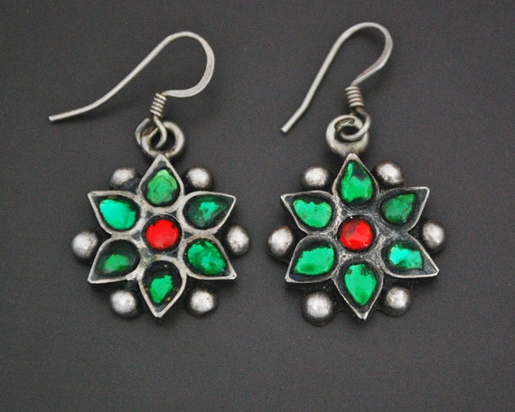 Rajasthani Flower Earrings with Glass - Indian Tri