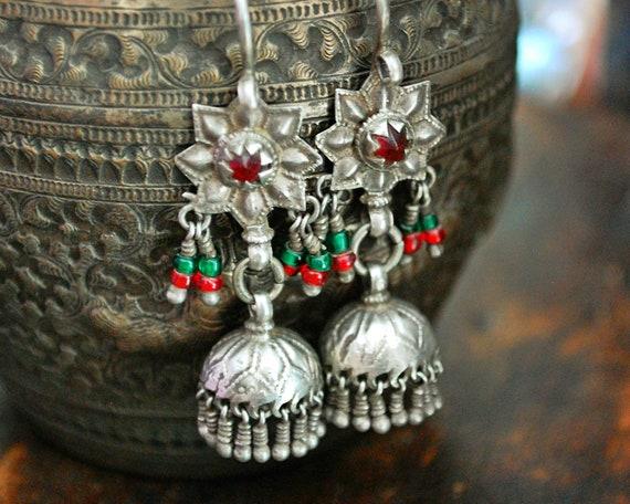 Tribal Kashmiri Jhumka Earrings - Tribal Silver Ea