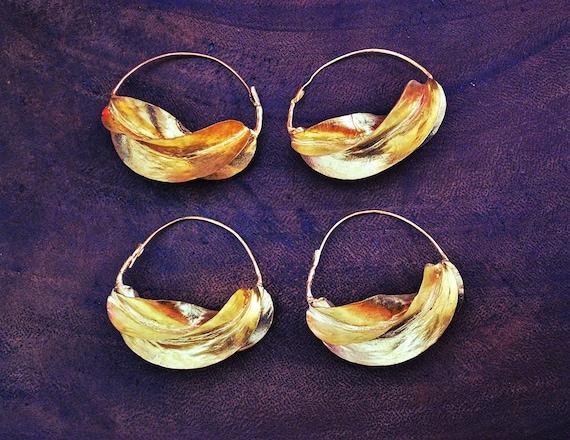 Tribal Fulani Hoop Earrings XL - Gold Plate Copper