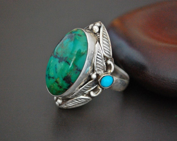 Ethnic Turquoise Ring from India - Size 8.75 - Eth