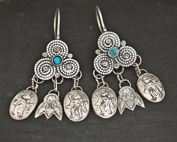 Vintage Afghani Earrings with Turquoise - Ethnic E