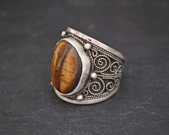 Tiger Eye Ring from India - Size 8 - Ethnic Tiger