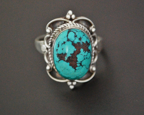 Ethnic Turquoise Ring from India - Size 10.5 - Eth