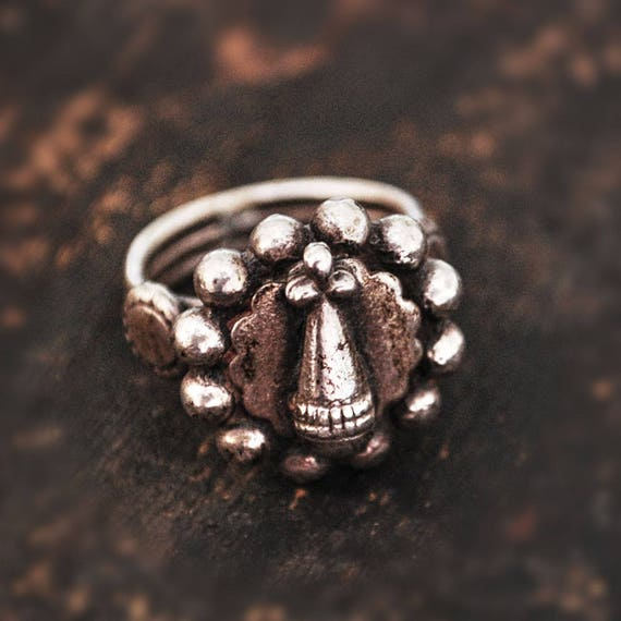 Antique Rajasthan Silver Ring - Size 4.5 - Ethnic