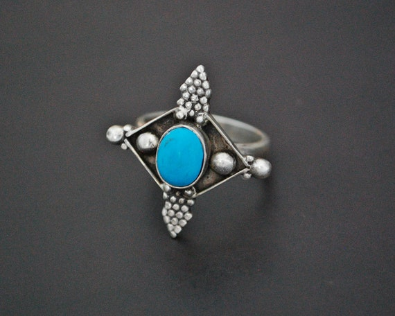 Ethnic Turquoise Ring from India - Size 7.5 - Ethn