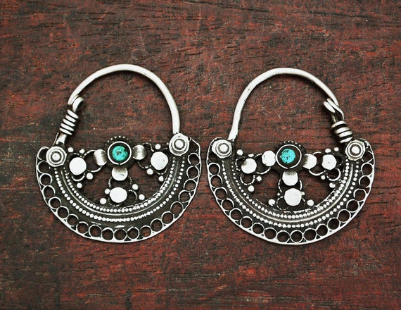 Antique Afghani Hoop Earrings with Turquoise - Afg