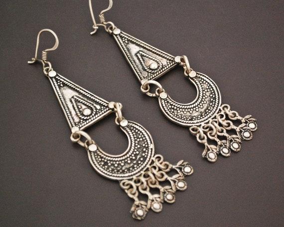 Long Vintage Indian Silver Earrings - Rajasthani S