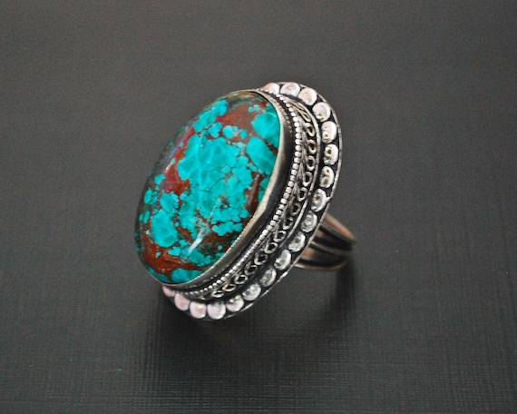 Ethnic Turquoise Ring from India - Size 7.75 - Eth