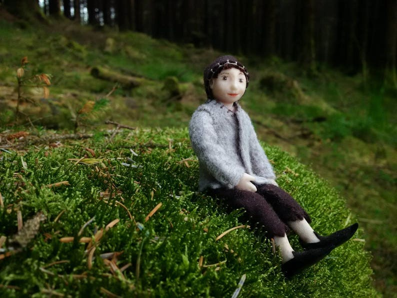 Greetings card Forest Elf bendy doll