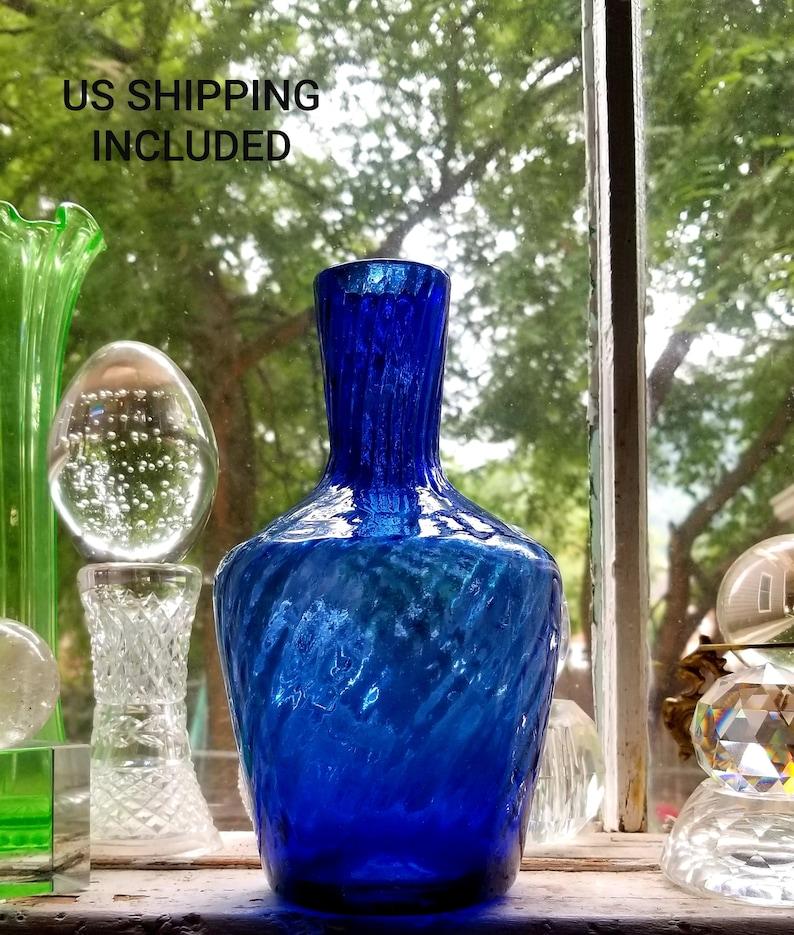 Vase Cobalt Blue Studio Art Glass Hand Made Blown Swirl 8 Inches FREE SHIPPING