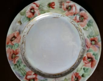 Plate Poppies Hand Painted Limoges France Vintage