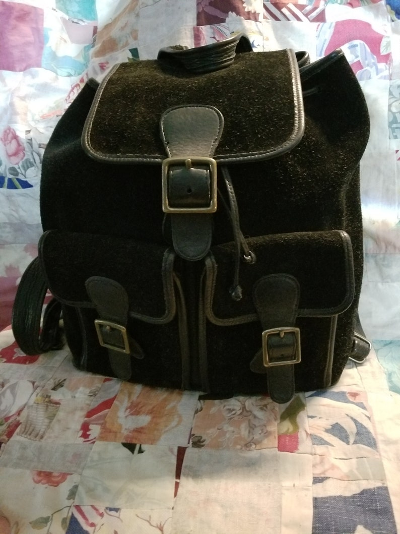 eb59228f8b Coach Backpack Black Suede Leather Vintage Near Mint Condition | Etsy