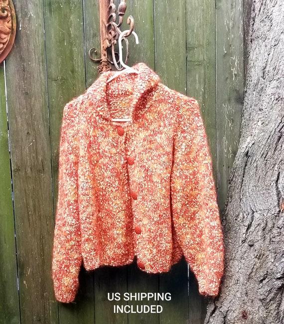 Hand Made Mohair Sweater Orange Bittersweet Mid Ce