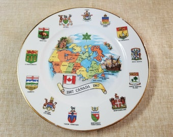 Plate Canada Centennial 1967 Vintage Collectible Map Provinces