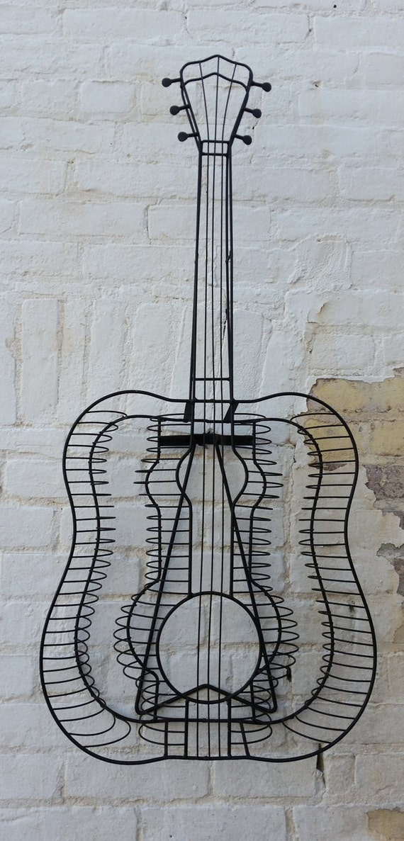 guitar steel wire sculpture welded wall hanging cd rack. Black Bedroom Furniture Sets. Home Design Ideas