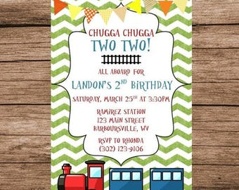 Chugga Chugga Two Two, Train Birthday, Digital Invitation