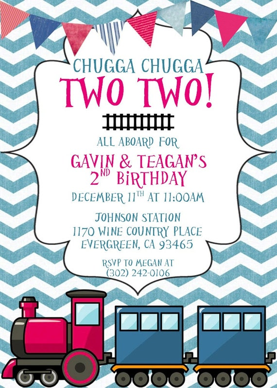 Einladung Zug Einladungen Chugga Chugga Zwei Zug Zwei Junge Etsy