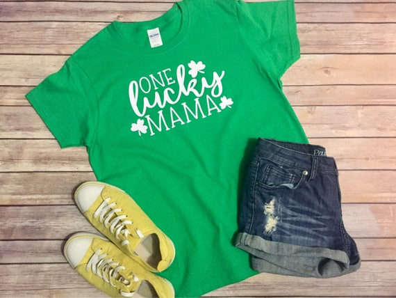 831bd7e6 One Lucky Mama T-Shirt One Lucky Mama Tee Lucky Mom Shirt | Etsy