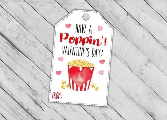 Popcorn Valentine's Day Tags Valentines Printable