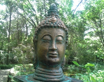 Buddha head sculpture, statue cast in cement and hand finished in bronze with aged patina by D'Nell Sherbet Gable Gargoyles
