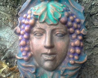 Greenlady face wine Goddess Garden gate, door,  wall or fence handcrafted sculpture art