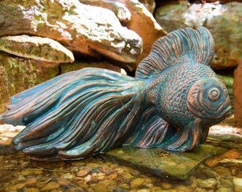 Bronze finish goldfish garden statue for your home or garden.  Great for a birdbath or sitting by the pond. Artwork by Gable Gargoyles