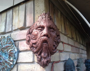 Odin the sconce face planter or Odin corner stone bronze copper finish piece. Makes a great bas relief on the corner of your house.
