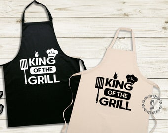 King of the Grill SVG   Grilling Apron Cut File   Craft for Father's Day