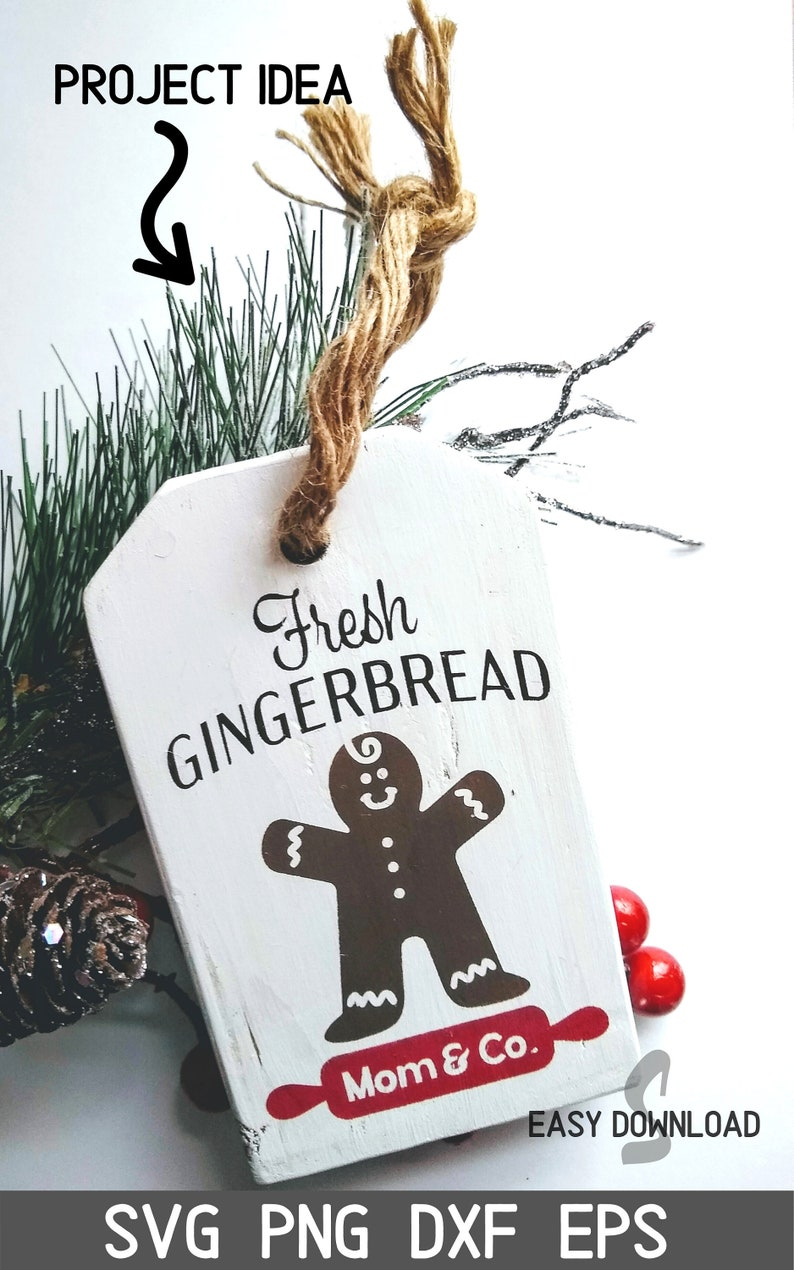 Gingerbread Mom & Co.  Vertical Christmas SVG file for image 0