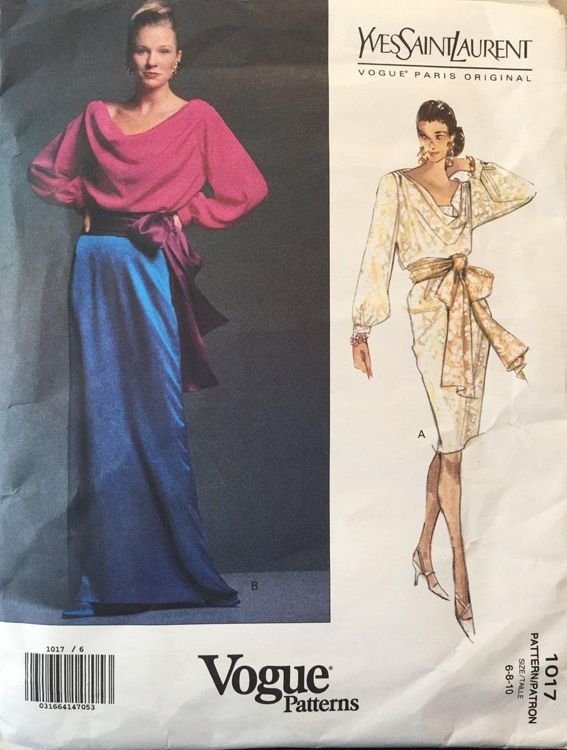 d5462d4b216 Paris Vogue Yves Saint Laurent 2 Pc. Dress w Bias Cut Long | Etsy