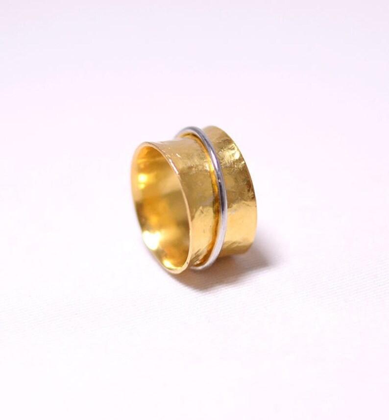 Fidget spinner ring gold spinner ring thumb rings for women image 1