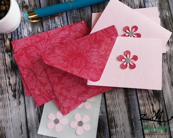 Pink Demask envelope Lt Pink Mini Cards / Thank you Cards / Note Cards / 2.5x3.5 mini card / Set of 4 / Blank Card / Flower Card Gift Card