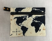 World Map Coin Purse, Credit Card Wallet, Earbud Pouch, IPod Holder