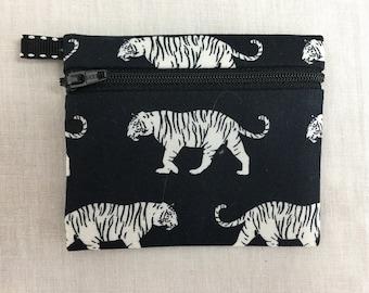 IPod Holder Cute Tiger Flat Zipper Coin Purse Credit Card Wallet Earbud Pouch