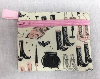 Elephants Organic Cotton  Zipper Coin Purse Credit Card Wallet Earbud Pouch iPod Holder
