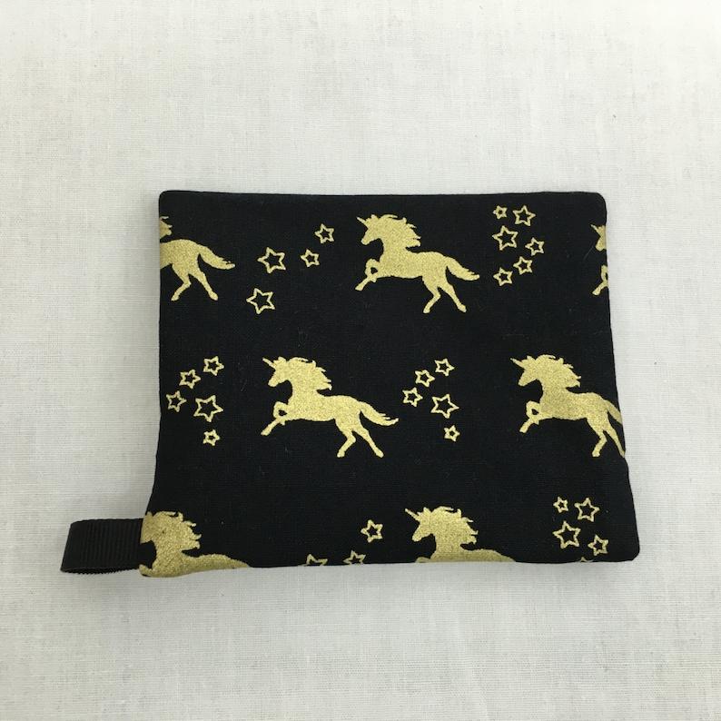Choose Color IPod Holder Unicorn Metallic Gold on Black Zipper Coin Purse Credit Card Earbud
