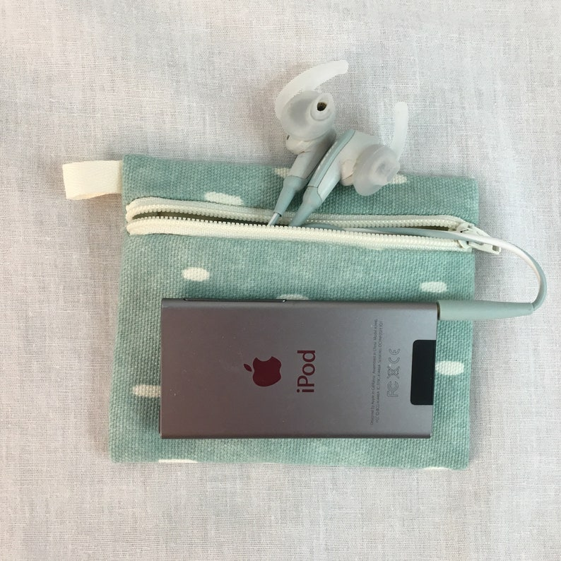 Earbud Music Player Pouch Credit Card Feathers Zipper Coin Purse