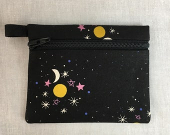 Moon, Sun and Stars Flat Zipper Coin Purse, Credit Card Wallet, Earbud Pouch, IPod Holder