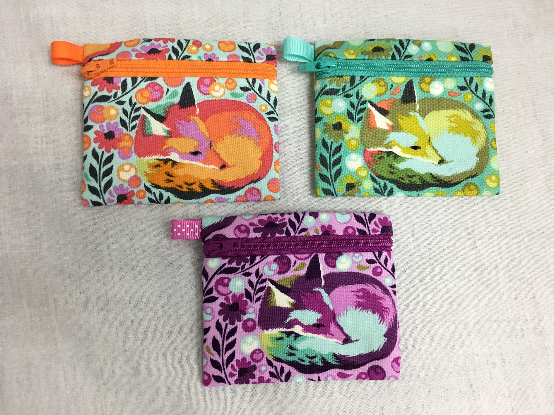 Gift Card Zip Bag Fox Nap Zipper Pouch Coin Change Purse w Key Ring Tula Pink Fox Sleeping Fabric Credit Card Holder Fox Napping