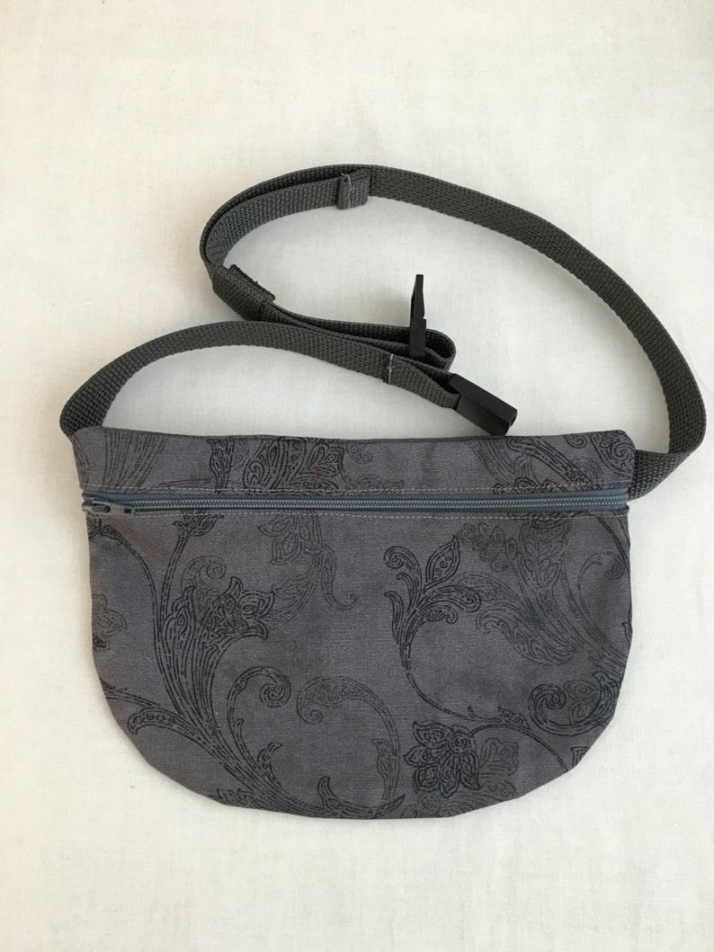 Bum Bag Waist Bag Zipper Fanny Pack Festival Bag hip Pouch Charcoal Floral Flat