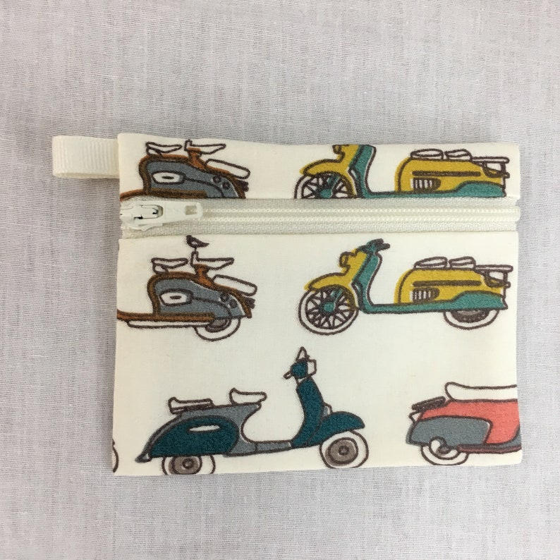 Organic Cotton Coral  Scooters Flat Zipper Coin Purse Earbud Pouch IPod Holder Credit Card Wallet