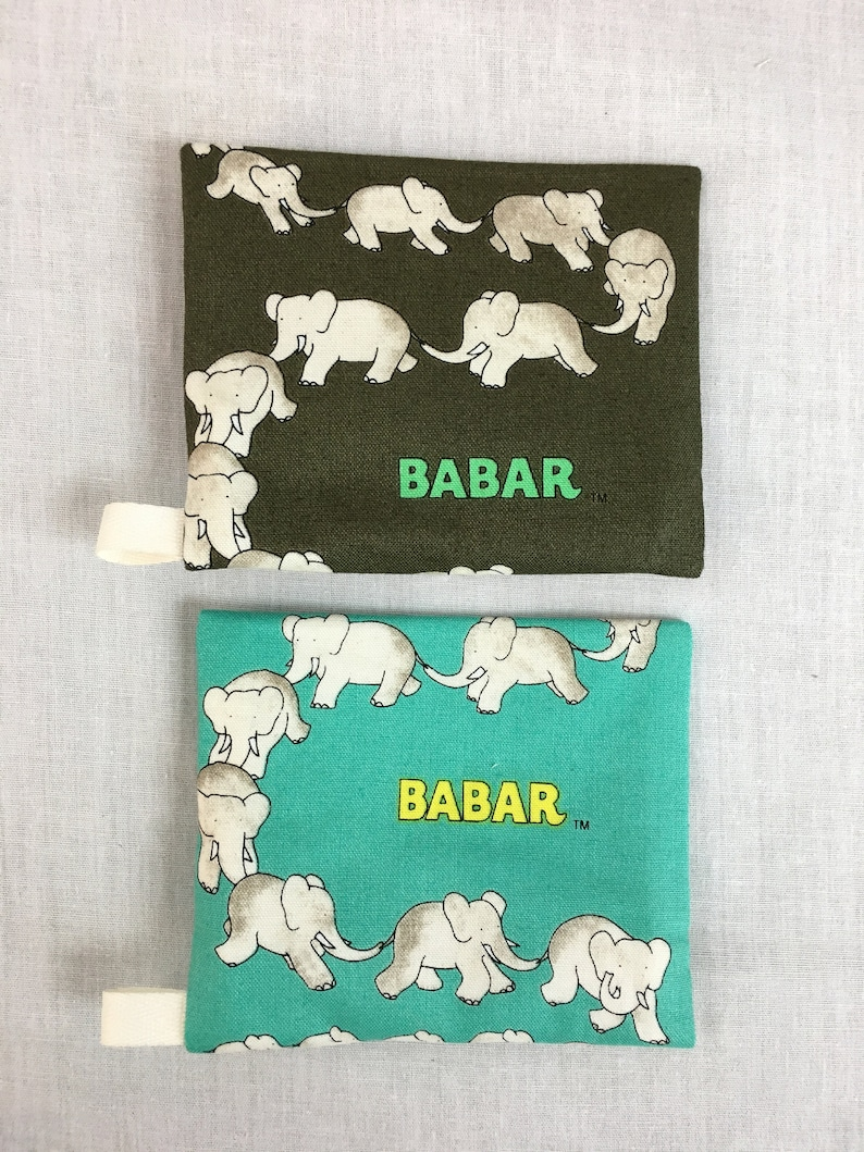 Earbud Pouch Credit Card Wallet IPod Holder Babar Elephant Zipper Coin Purse