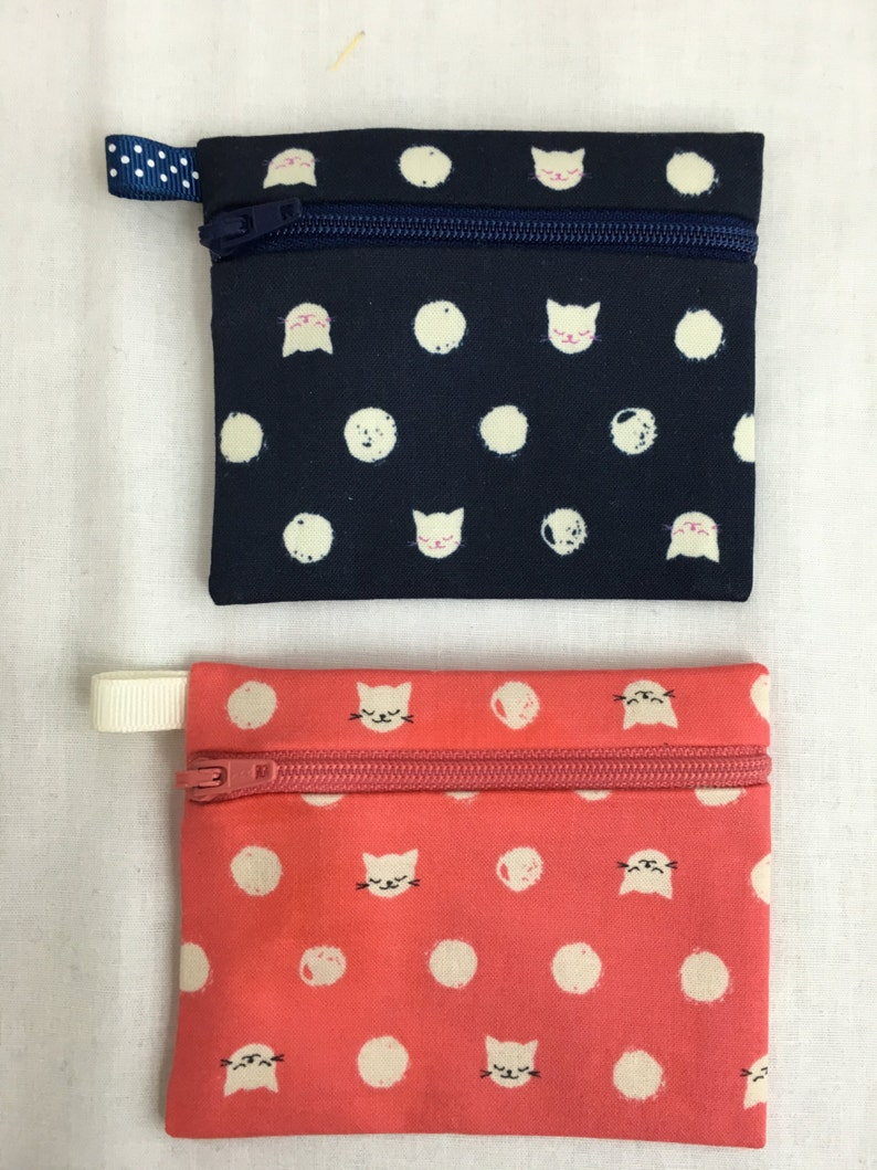 Credit Card Case Cat Lady Zipper Coin Purse Earbud Pouch Music Player Pouch-Choose Color