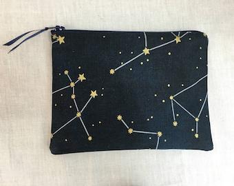 Constellations Medium Zipper Bag, Gadget Bag, Cosmetic Bag, Travel Bag