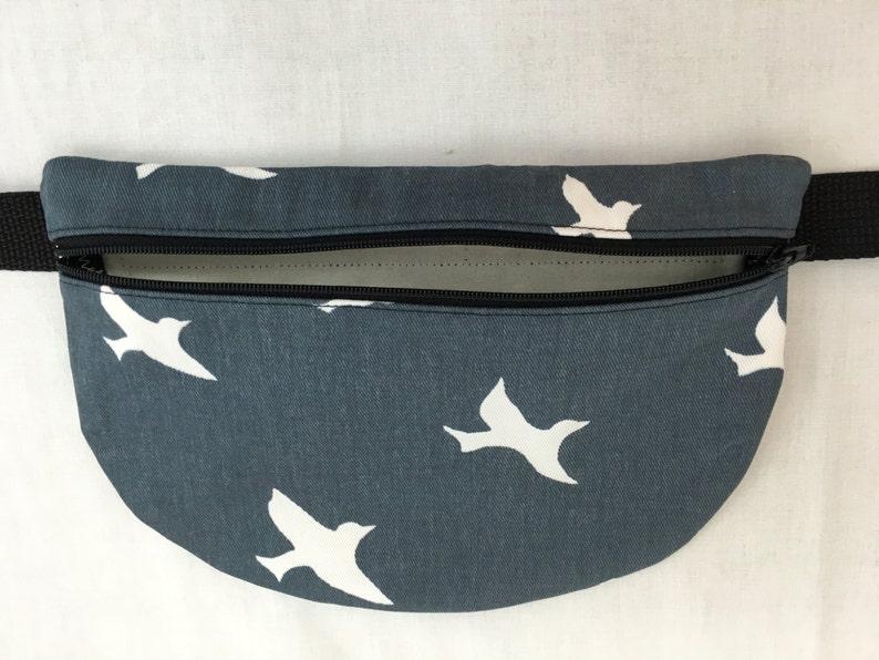 Hip Pouch-Choose Color Waist Bag Waist Pack Birds on Gunmetal or Coastal Blue Flat Zipper Fanny Pack
